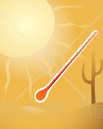 Thermometer-In-The-Hot-Sunshine-By-A-Cactus-In-The-Desert-Clipart-Illustration