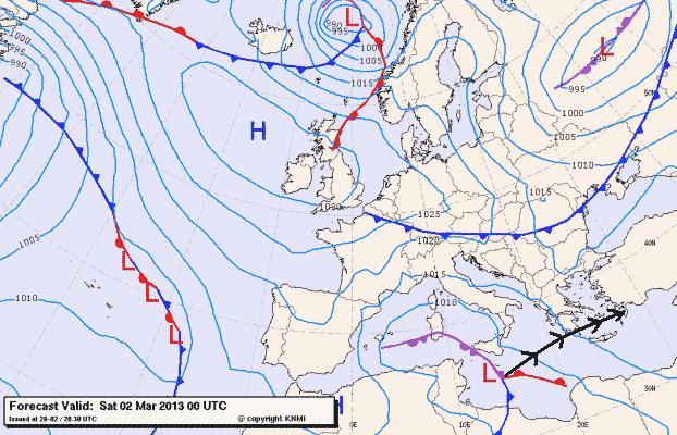 Πρόγνωση καιρού Αττικής 2-3 Μάρτη 2013