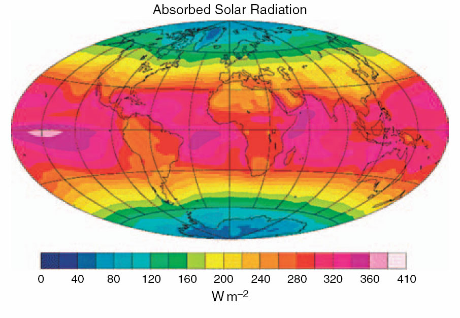 absorbed solar radiation